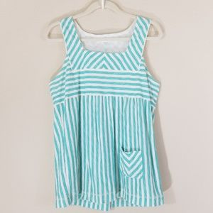 GENERRA STRIPED BOHO LARGE TOP, TEAL AND WHITE